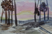 Sand Fences Posters - Sunrise at Hunting Island - Sketch Poster by Joel Deutsch