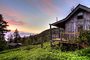 Old Cabins Posters - Sunrise at Mt LeConte Poster by Debra and Dave Vanderlaan