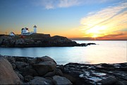 Nubble Lighthouse Posters - Sunrise at Nubble Poster by Andrea Galiffi