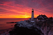 New England Lighthouse Prints - Sunrise at Portland Head Lighthouse Print by Benjamin Williamson