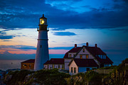 Beach Scenery Posters - Sunrise at Portland Head Lighthouse Poster by Diane Diederich