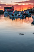 Village Views Posters - Sunrise at Rockport Harbor - Cape Ann Poster by Thomas Schoeller
