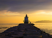 Maine Metal Prints - Sunrise at Spring Point Lighthouse Metal Print by Diane Diederich