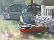 Trawler Painting Posters - Sunrise at Ten Foot Hole Poster by Susan Richardson