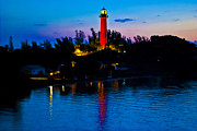 Lighthouse At Sunrise Prints - Sunrise at the Jupiter Lighthouse Print by Brenda Gutierrez Moreno