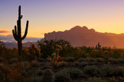 The Superstitions Prints - Sunrise at the Superstitions  Print by Saija  Lehtonen