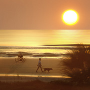 Dog Walking Digital Art Prints - Sunrise at Topsail Island 2 Print by Mike McGlothlen