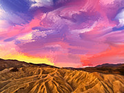 Zabriskie Point Paintings - Sunrise at Zabriskie Point by Dominic Piperata