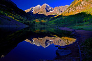 Maroon Bells Posters - Sunrise Bells Reflection Poster by John Hoffman