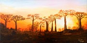 Boab Prints - Sunrise Boab Trees Print by Renate Voigt