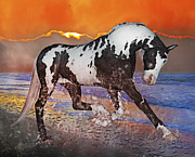 White Horses Mixed Media Prints - Sunrise Cruise Print by Betsy A Cutler East Coast Barrier Islands