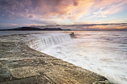 Weymouth Bay Posters - Sunrise falls at Lyme Regis Cobb Poster by Chris Frost