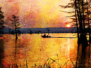 Cypress Digital Art Prints - Sunrise Fishermen Heading For The Perfect Spot Print by J Larry Walker