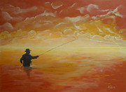 Sport Fishing Paintings - Sunrise Fishing by Donna Blackhall
