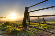 Dairy Barns Posters - Sunrise  Gate Poster by Debra and Dave Vanderlaan
