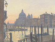 Gondolas Paintings - Sunrise Grand Canal by Julian Barrow