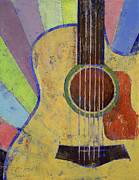 Sun Rays Painting Framed Prints - Sunrise Guitar Framed Print by Michael Creese