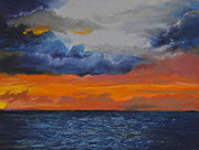 Morning Pastels - Sunrise in Carribbean Sea by Carolyn Kibe