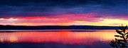 Yellow Bridge Digital Art Posters - Sunrise in Cayuga Lake Ithaca New York Panoramic Photography Poster by Paul Ge