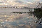 Balance In Life Photos - Sunrise in fog Lake Cassidy with fishermen in small fishing boat by Jim Corwin