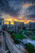 Mike Lee Metal Prints - Sunrise in Hong Kong Metal Print by Mike Lee