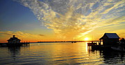 Shallowbag Bay Framed Prints - Sunrise in Manteo Framed Print by Sandy Banks Photography