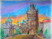 Statue Pastels Prints - Sunrise in Pagrue Print by Aeris Osborne