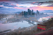 Pittsburgh Skyline. Framed Prints - Sunrise in Pittsburgh Pa  Framed Print by Emmanuel Panagiotakis