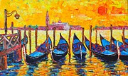 City Of Bridges Painting Posters - Sunrise In Venice Italy Gondolas And San Giorgio Maggiore Poster by Ana Maria Edulescu