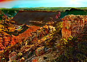Hopi Mixed Media Prints - Sunrise Lipan Point Grand Canyon Print by Nadine and Bob Johnston