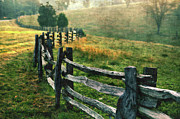 Split Rail Fence Photo Prints - Sunrise Meadow - Blue Ridge Parkway II Print by Dan Carmichael