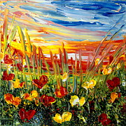 Acrylic Paintings - Sunrise Meadow   by Teresa Wegrzyn