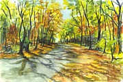 Green Foliage Drawings Prints - Sunrise On A Shady Autumn Lane Print by Carol Wisniewski