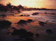 Cambria Paintings - Sunrise on Moonstone Beach by R W Goetting
