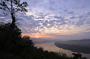 Rural Indiana Prints - Sunrise on the Ohio - D002783a Print by Daniel Dempster