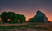 Southwest Church Prints - Sunrise on the ranch Print by Carolyn Dalessandro