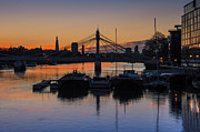 London Skyline Digital Art Prints - Sunrise on the Thames Print by Donald Davis