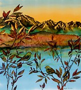 Water Tapestries - Textiles Prints - Sunrise on Willows Print by Carolyn Doe