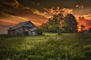 Indiana Photography Prints - Sunrise over Artsy Fartsy Barn Print by Michael Huddleston