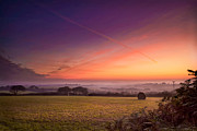 Haybale Photo Prints - Sunrise over Cornwall Print by Christine Smart