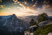 Mike Lee Metal Prints - Sunrise over Half Dome at Glacier Point Metal Print by Mike Lee