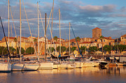 Docked Sailboats Prints - Sunrise over La Ciotat France Print by Brian Jannsen