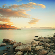 Rocky Shore Prints - Sunrise Over Lake Pukaki New Zealand Print by Colin and Linda McKie