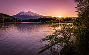 Snow Covered Mountains Prints - Sunrise over Lake Siskiyou and Mt Shasta Print by Scott McGuire