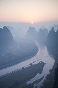 Lichen Photo Framed Prints - Sunrise over Li river - China Framed Print by Matteo Colombo