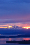 Pinks Pastels Posters - Sunrise over Mt. Baker Poster by Tracey Levine