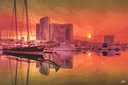 Steve Huang Prints - Sunrise Over San Diego Print by Steve Huang