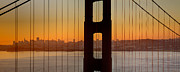 Sausalito Metal Prints - Sunrise over San Francisco Bay through Golden Gate Bridge Metal Print by JPLDesigns