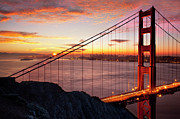 Golden Gate Photo Originals - Sunrise over the Golden Gate Bridge by Brian Jannsen