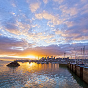 Zealand Posters - Sunrise over Westhaven Marina Auckland New Zealand Poster by Colin and Linda McKie